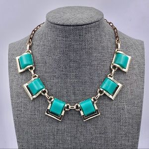 1960s Green Thermoset Dome Square Link Necklace